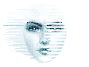 Women face in pixel wind